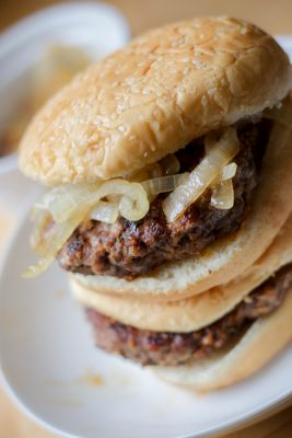 Burgers with Caramelized Onions