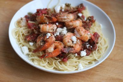 Feta Shrimp with Angel Hair Pasta